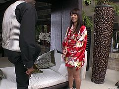 Horny black stud Michael Chapman is having fun with tireless Asian porn star Marica Hase. He fingers her pussy and makes her deepthroat his huge black boner and then they have awesome doggy style sex.