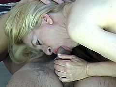 Blonde milf gets fucked near swimming pool