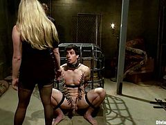Stunning blonde mistress ties up and toys her sex slave. She also gets her pussy drilled by another man.