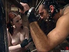 What a divine bitch is getting that man in pain! Her name is Claire Adams and this lusty mistress enjoys how her slave stuns, when she dos some painful things to him!