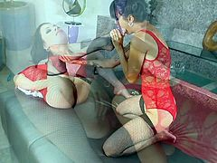 Black haired experienced and playful pornstar lezzies Sovereign Syre and Dana Vespoli with dark heavy make up and juicy tits in red lingerie lick each other in amazing action.