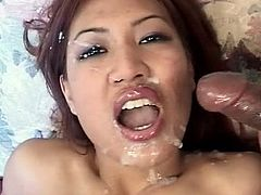 Staggering asian model plays naughty along two large cocks fucking her hard