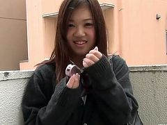 This sexy asian teen babe has escaped from school and just met a random dude. He offered her some cash if she shows her sexy white panties on his spy camera.