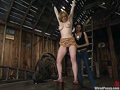 This hone named Adrianna Nicole got some juicy pierced tits. And honey loves it in pain. So, her mistress ties her up and twitches her vagina lips! Oh, gross!