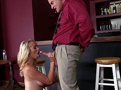 Pretty young blonde waitress Brandy Stone with tight sweet ass and natural boobies gets seduced by experienced fucker Evan Stone and gets pink hairless cunny drilled in the bar.