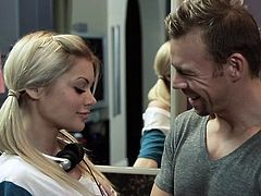 The cute blonde is good at cooking but she's getting hot in the kitchen and so does her gf. A guy films her culinary show and then does a porn with her gf in the backstage! He slaps and licks her sexy ass before filling her mouth with cock. This blonde is tasty but will we get to see something else cooking?