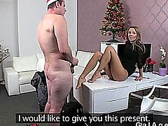 Hot brunette female agent mastubating on a desk in her office while amateur gut jerking off his dick and cums on her leg in the end on his casting