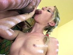 This naughty blondie wants to get really wild with this old stud's dick. She sucks his throbbing cock with great enthusiasm. Then he fucks her muff from behind.