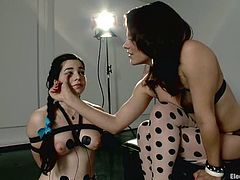 This is some BDSM to watch! Juicy sex mistress Bobbi Starr is making some fun of this slutty sex slave Naidyne! She gets tied up and wired all over!