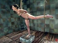 Cute brunette Lena Ramon gets bound and tortured in a basement. Some girl fucks Lena's cunt with a dildo and then makes her take a dive in a glass box filled with water.