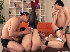 Slutty Japanese chick Asuka and her lewd GF are having fun with two dudes in the living room. They please the men with blwojobs and then let them drill their cunts in missionary and other positions.