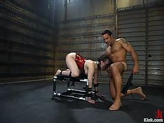 Dana Dearmond wearing latex clothes is having fun with Steven St. Croix in a basement. Steven binds the milf, fucks her mouth and then destroys her coochie with his hard prick.
