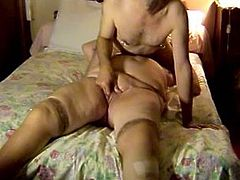 She gets her old hole fingered while she sucks that dudes cock, that nasty granny with big natural boobs is very horny after long time.