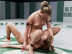 Jessie Cox and Trina Michaels fuck in a ring after fighting