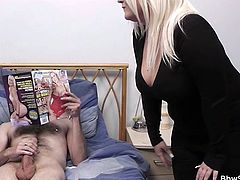 After chatting with one of her gf's Sindy goes in the bedroom where she founds this guy jerking off at a porn magazine! Seeing what a big, hard cock this dude has she just couldn't help herself and took it in her mouth. The blonde bbw swallowed his penis and then he undressed her to play with her some more!