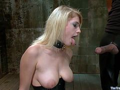 Allie James is in the sex dungeon, of a vicious sex master and he makes her, read humiliating things about herself. He shoves the paper inside her mouth and pulls her hair. Her arms are tied, so she can't fight back. Her master pulls his cock out and makes her, suck on his dick.