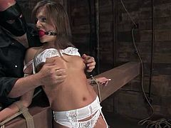 Nika Noire gets clothespinned and choked by Sgt. Major