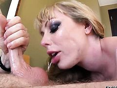 Amazingly hot minx Adrianna Nicole is in heaven eating Jonni Darkkos rock hard schlong