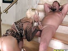 Blonde with huge melons and clean pussy gets a nice hole fuck in steamy action with hot man