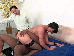 Smoking hot tattooed cougar Shay Fox with short black hair and big jaw dropping curves in stockings only sucks black Prince and rides on his monster cock in front of husband.
