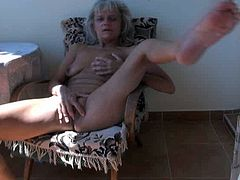 This spoiled granny will never miss a chance for hot masturbation session. She slides her fingers inside her fanny and starts pumping them in and out until she reaches sweet orgasms.