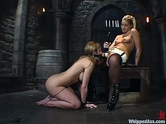 Sexy babe licks pussy and gets toyed by her mistress