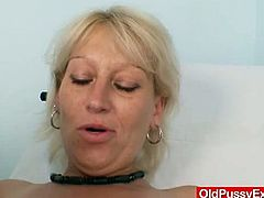 Samatha Chalky is a horny czech mature and it is time for her old cunt to get checked by the gynecologist. Watch her opening her legs wide to get it examined.