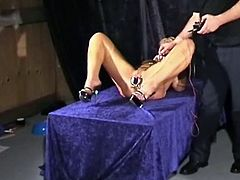Bizarre medical masochism and doctors electro shock fetish of blonde speculum slaveslut in pain and