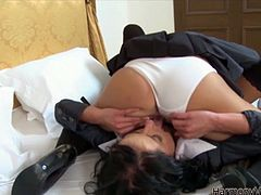 Two hot barely legal brunette lesbians get wild in bed. Young black haired beauties rub and lick each other's delicious cunts with desire...
