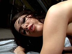 Sasha Grey gets ass stretched  as she rides on that thick dick inside her cum craving anal hole. She gets filthy undeground and gets drunk with tons of cum from him.