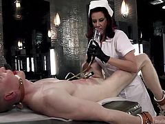 Rob is tied and ball gagged, as Maitress Madeline does her ways with him. She takes her time and enjoys torturing Rob's cock. At first, the brunette bitch uses a powerful pump and gives his dick some suction power. Then she grabs it with some medical scissors and really induces him a lot of pain.