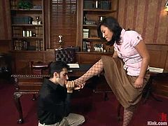 Naughty brunette chick strips her clothes off and undresses Nathaniel Meadowlark. After that she toys his guy with a strap-on.