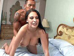 Tattooed dark skinned asiasn stud Keni Styles with meaty pecker gets seduced by long haired hottie Bella Blaze with jaw dropping natural hooters and bangs her in living room.