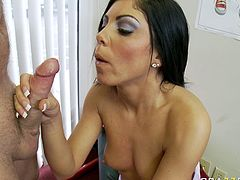 Luscious dark head bitch with small tits is standing on her all four serving her clam from behind. She gets her cherry eaten dry. Later on the guy slides his meaty stick in wet slick pussy doggy style.