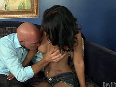 Some bold guy who looks like professor x fucked a really hot and sexy mulatto chick with her busty forms on sofa.Watch her enjoy that cock of professor x in her wet pussy in Fame Digital sex clips.