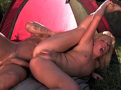 Young flexible blonde slut Ally Kay with small tits and delicious ass goes camping with Billy Glide. Eventually she gets horny and dirty dude scores big time in front of tent.