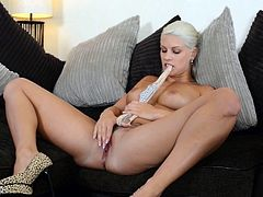 Blonde beauty amazes in her sexy undies while gently rubbing her soft pussy