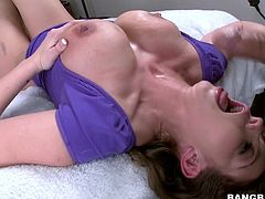 She's beautiful and deserves to be cum filled. Our superb busty lady Chase rides a hard cock like crazy and then lays on her back to receive it between her boobs. I fuck her boobs and then go back in her pussy where I unleash a big load of cum. Damn, look at her shaved vagina, filled and covered in cum.