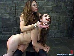 Two hot brown-haired babes make an amazing femdom show. Maya gets spanked and then stuffed in her vagina from behind.