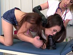 Nasty ass bitch Tiffany Doll is punished hard by kinky blonde nurse