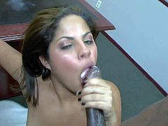 Jasmine Blaze is a sexy dark haired sexy chick with firm tits and tight shaved pussy. She gets her hole fucked silly by black clown on a desk in the classroom. Watch her enjoy interracial sex.