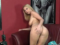 This slutty blonde wants the model's job on a permanent basis. And she knows there is no way she is going to get the job unless she shows her boss her private parts. The girl is the full package! She's sexy and she has a playful personality. She has a lovely pair of well-matured tits and a ncie round ass.