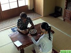 Watch this lucky dude, gets to fuck one hot mature Japanese babe in living room.This horny and hairy mature Japanese loves getting her wet pussy fingered and fucked hard.