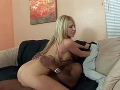 Ashley Winters is another sexy bodied busty blonde that gets her pussy fucked with no mercy by horny as hell black guy. He makes his chocolate sausage disappear in her love hole. Watch big titted blonde get nailed.