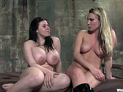 Curvy brunette Daphne Rosen is playing dirty games with salacious blonde dominatrix Harmony. Harmony ties Daphne up and humiliates the bitch and then smashes her juicy vag with a dildo.