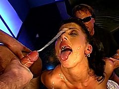Naughty sluts are having their mouths filled with cream after a good gang bang