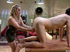 Superb blonde mistress shoves a hook in Jason's ass. Then she also tortures his dick and toys the ass with a huge strap-on. Later on he also licks her vagina.