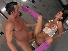 One of a kind black haired stunner Franceska Jaimes with big firm hooters and perfectly shaped fit body in hot outfit gets nailed by Billy Glide in awesome positions in locker room.