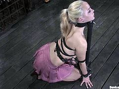 Sexy blonde chick undresses and gets tied up by her master. After that she gets her pussy toyed and tits tortured with clothespins.