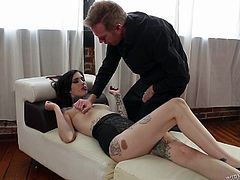 Pale and with dark hair Mabel craves for cock inside her fragile body. Although she's skinny and fragile the whore wants a big and hard dick. She grabs Mark's and sucks it like a pro. The guy pulls her head into his penis and throat fucks this cheap slut. Some cum will look great on her dark hair!